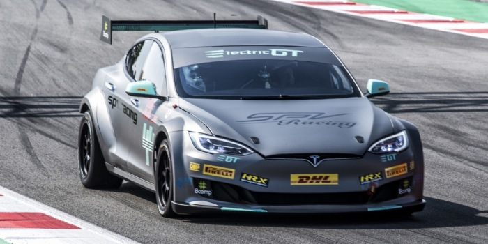 Electric GT reveals stripped Tesla Model S for race series